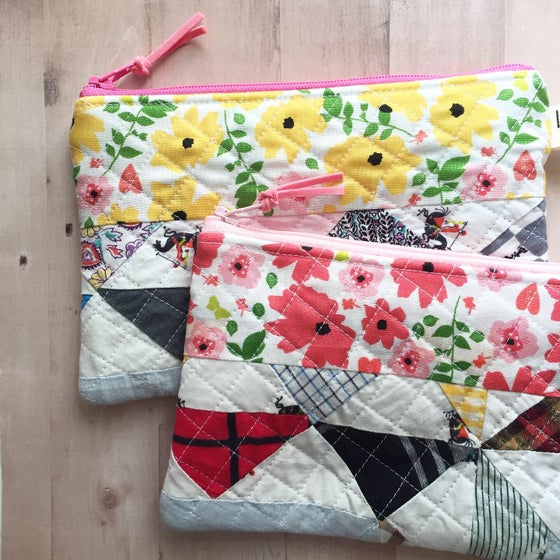 Image of Vintage Quilt Scrappy Zipper Pouch