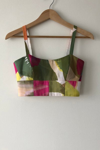 Image of Scoop Bustier - Abstract Botanical