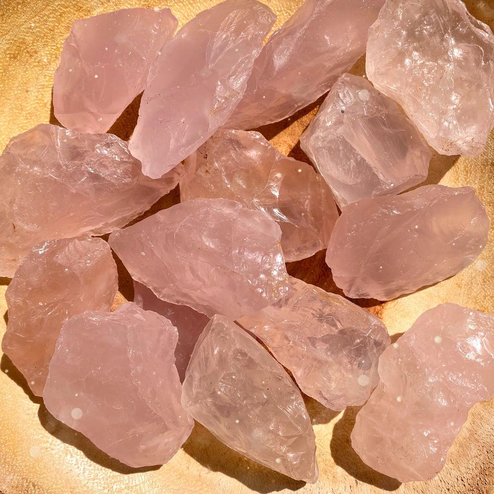 Image of Medium A Grade Juicy Raw Rose Quartz Chunks