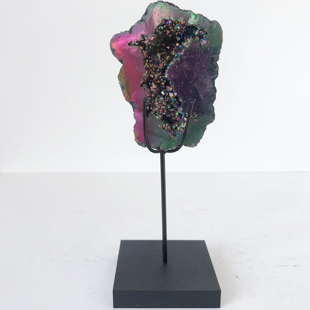 Image of Titanium Coated Calcite no.20 + Matte Black Lucite Stand