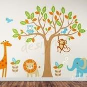 Image of Vinyl Wall Decal Safari Playland - Elephant, Giraffe, Owl, Monkey, Lion