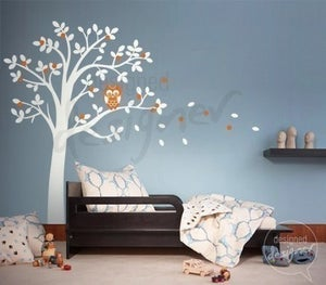 Image of Vinyl Wall Decal Art- Hooting Owl on Woodland Tree Girl or Boy with free growth chart - dd1020