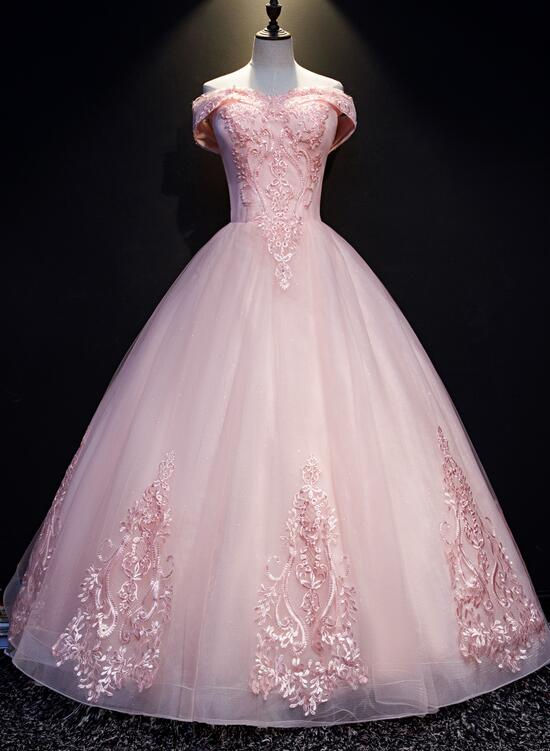Pink Tulle with Lace Applique Off Shoulder Evening Gown, Pink Sweet 16 Dress