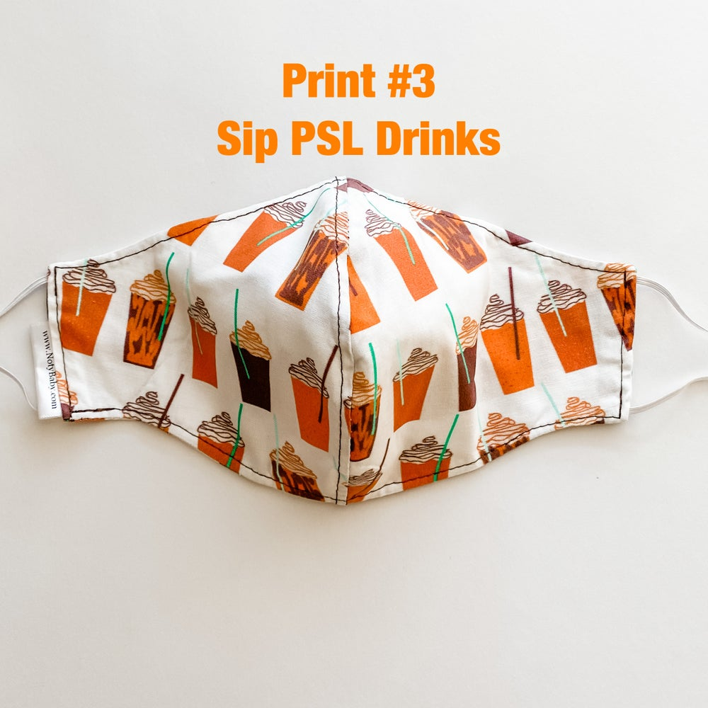 Image of Pumpkin Spice Latte Fabric Mask  READY TO SHIP