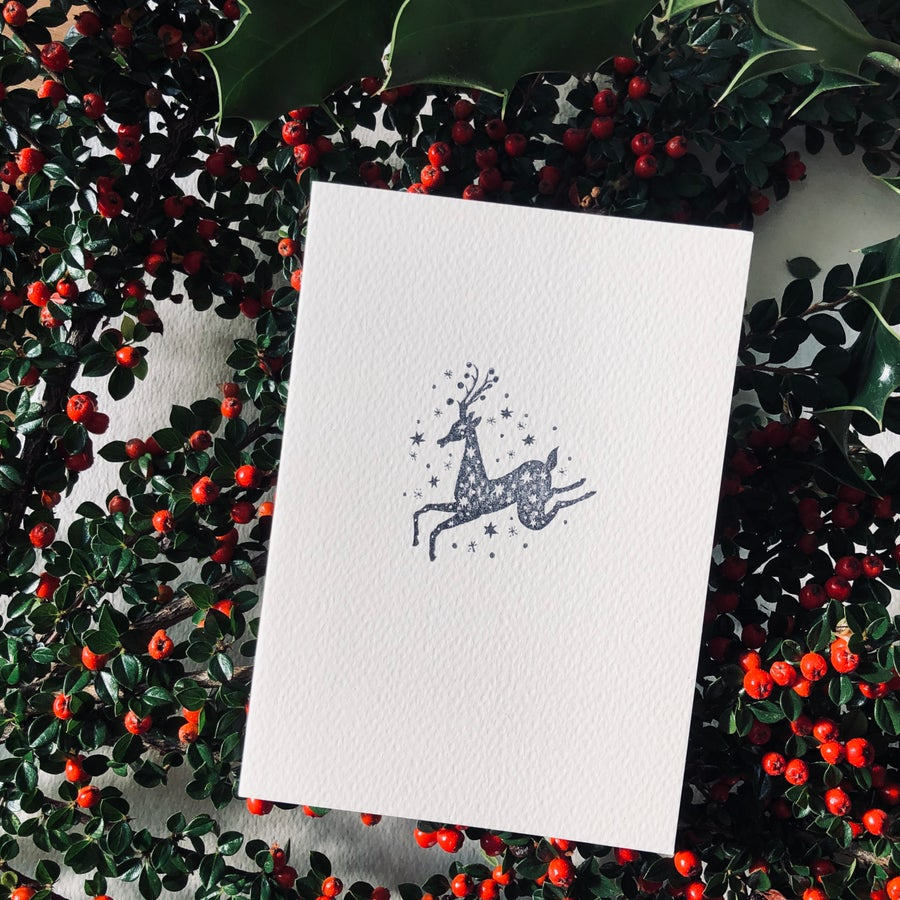 Image of Block Printed Christmas Card with Mother Deer Design