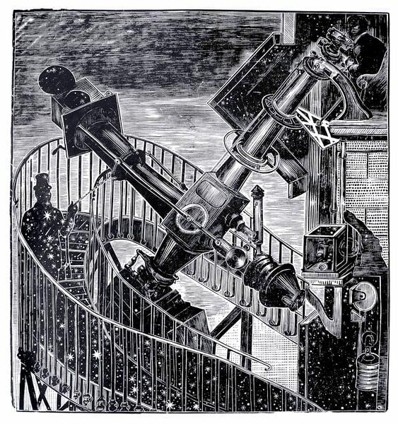 "Image of ""Il Colossale Cannocchiale del Sr. Newall"", linocut. T 1/100"