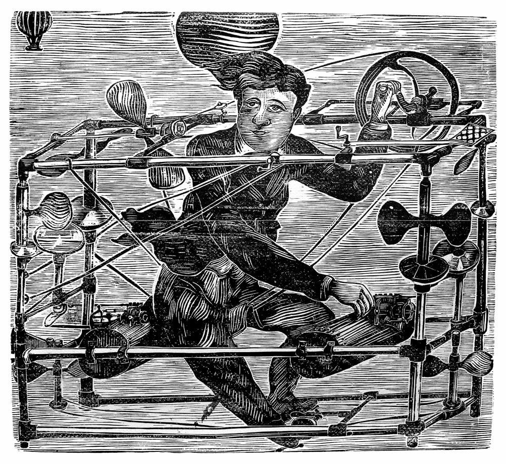 "Image of ""La Macchina Volante del Dc Ayres"", linocut. T 1/100"