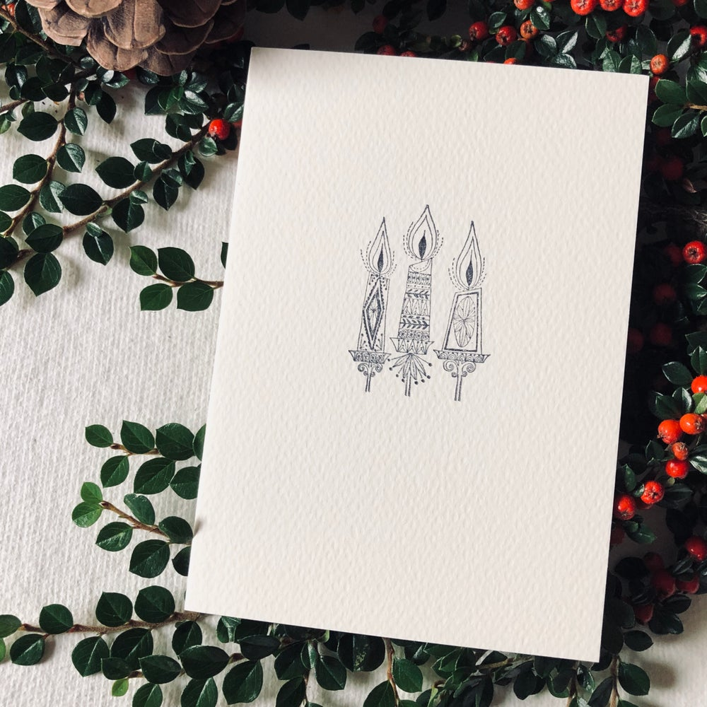 Image of Block Printed Christmas Card with Mid Century Candles Design