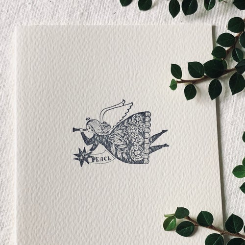 Image of Block Printed Christmas Card with Angel Design