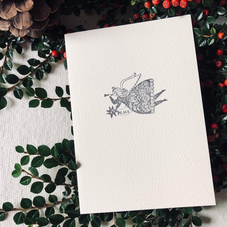 Image of Block Printed Christmas Card with Christmas Angel Design