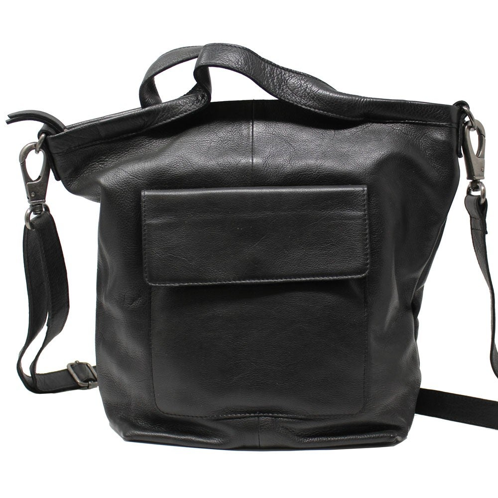 Image of Bianca Leather Crossbody Tote - Black