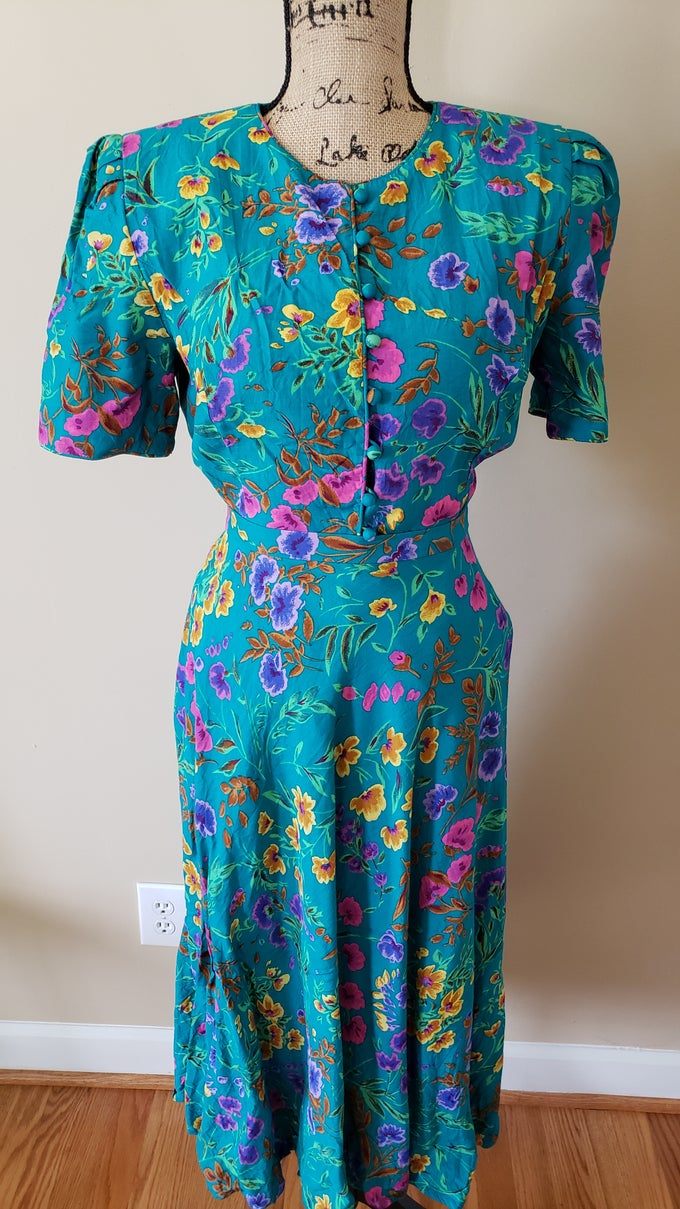 Image of 2 Piece Turquoise Floral Set
