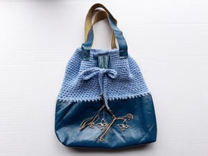 Image of Leather and Crochet Bucket Bag