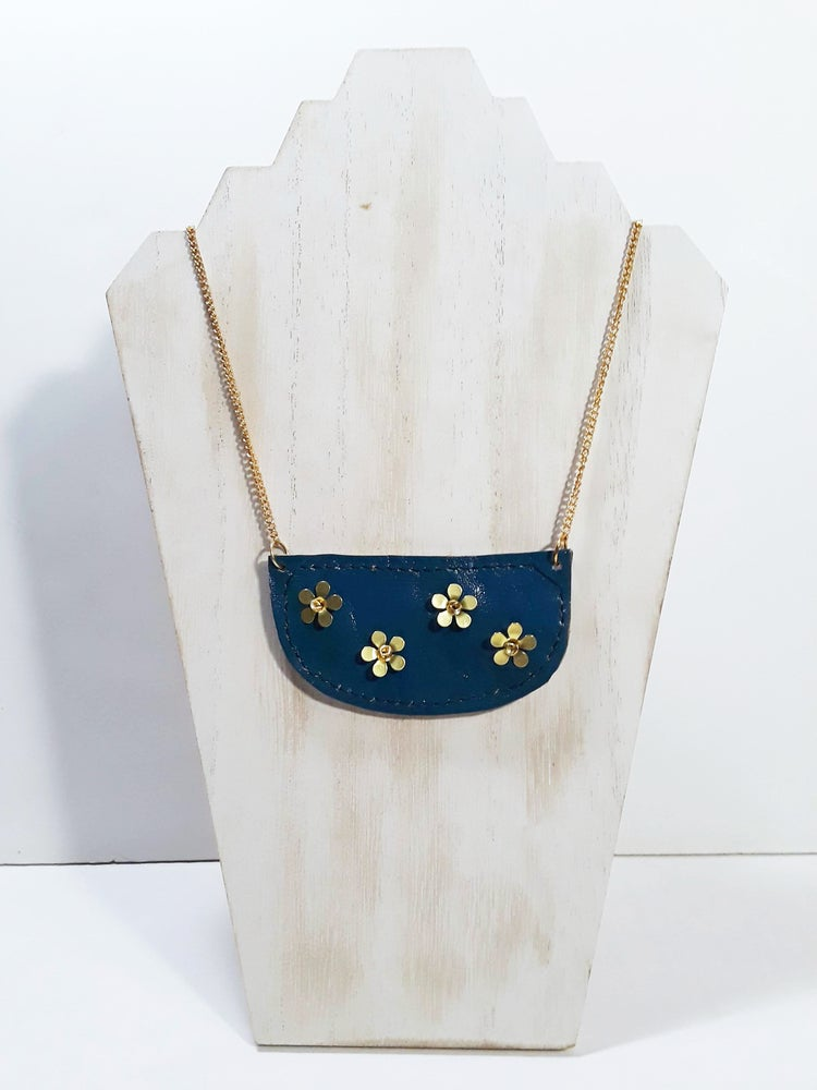 Image of Leather Half Circle Necklace