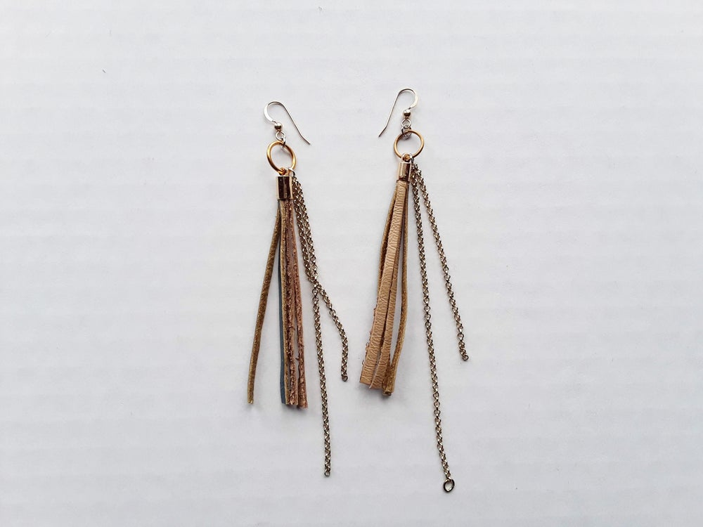 Image of Leather Fringe and Chain Earrings