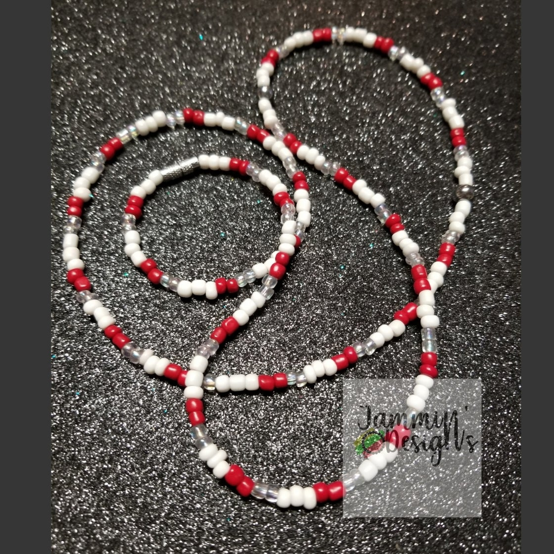 Image of Waistbead_ Red & White