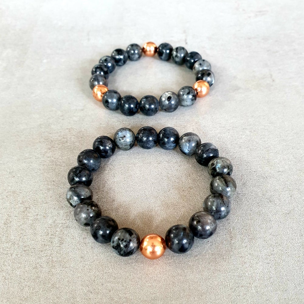 Image of LARVIKITE & COPPER BRACELET - 6mm, 8mm & 10mm bead sizes