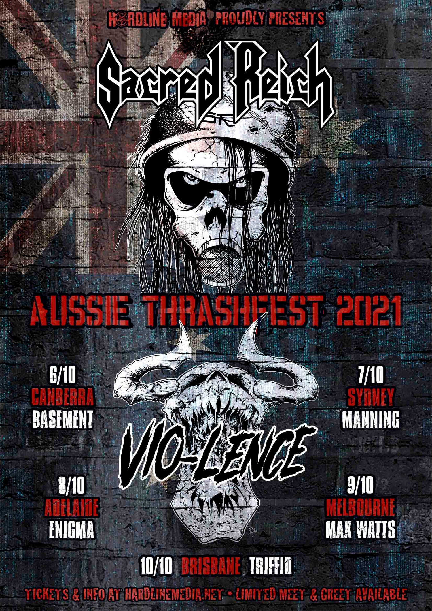 Image of GO TO OZTIX.COM.AU!!! GA TICKET - SACRED REICH + VIO-LENCE - MELBOURNE, MAX WATTS - SAT 9 OCT 2021