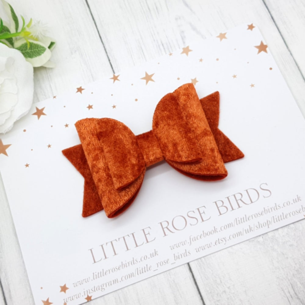 Image of Copper Orange Velvet Bow - Choice of Headband or Clip