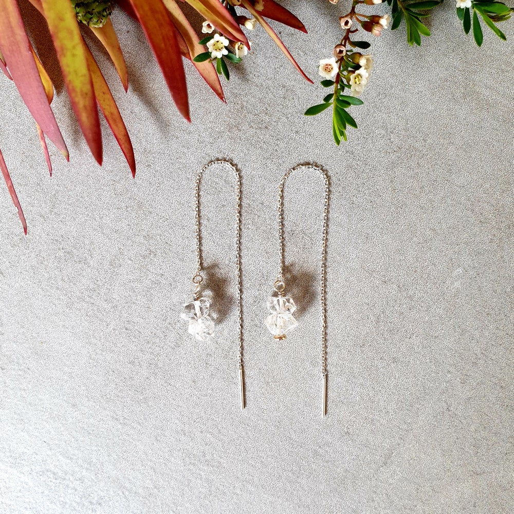 Image of HERKIMER DIAMOND Thread Earrings