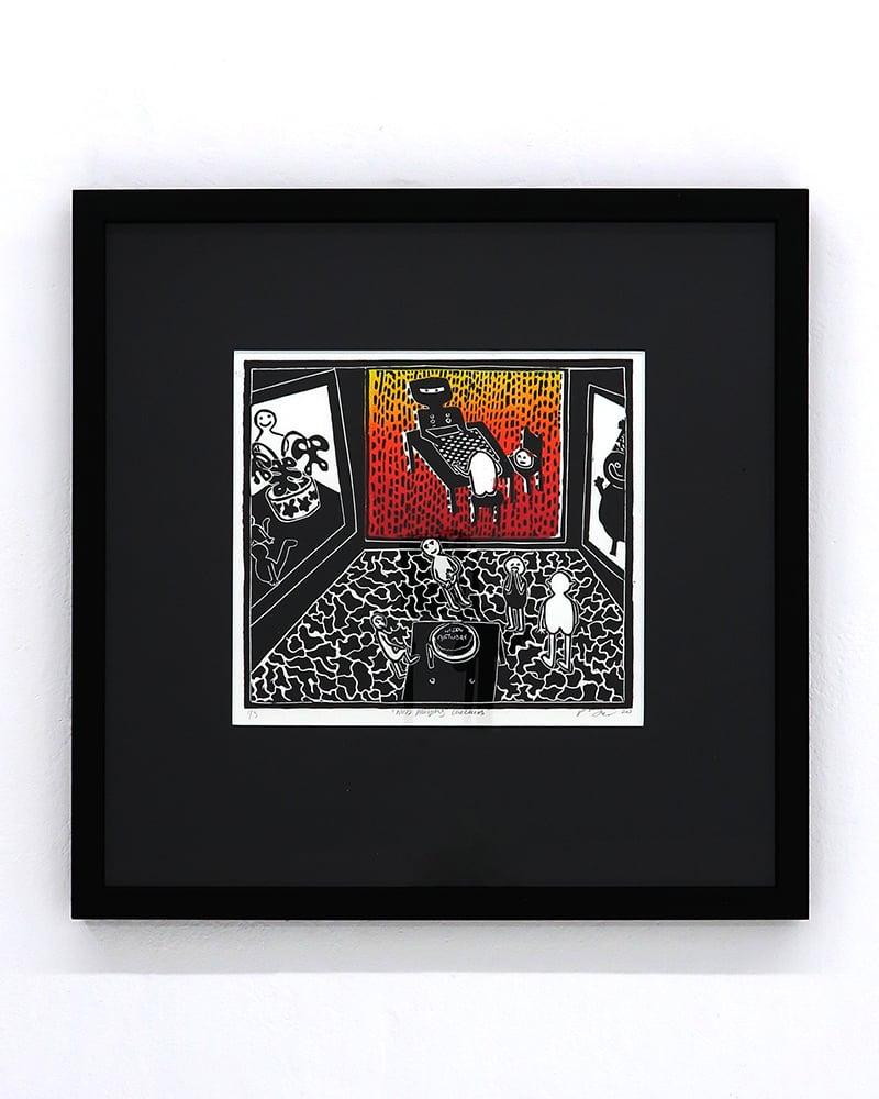 Image of Poppy Williams 'Ned playing checkers'. Original artwork 2020