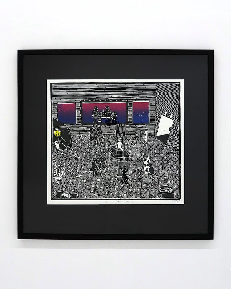 Image of Poppy Williams 'Animals playing poker'. Original artwork 2020