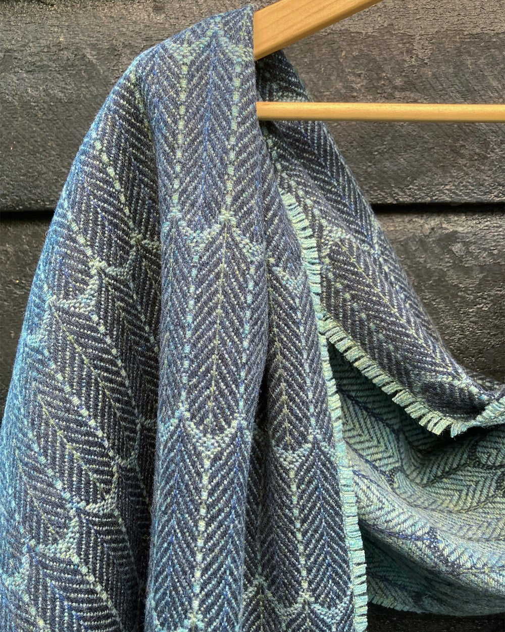 Image of Indigo & Eucalyptus 'Feathers' shawl