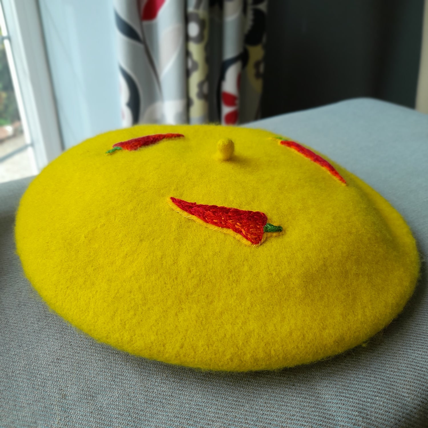 Image of Hand Embroidered Chilli Design Child's Beret