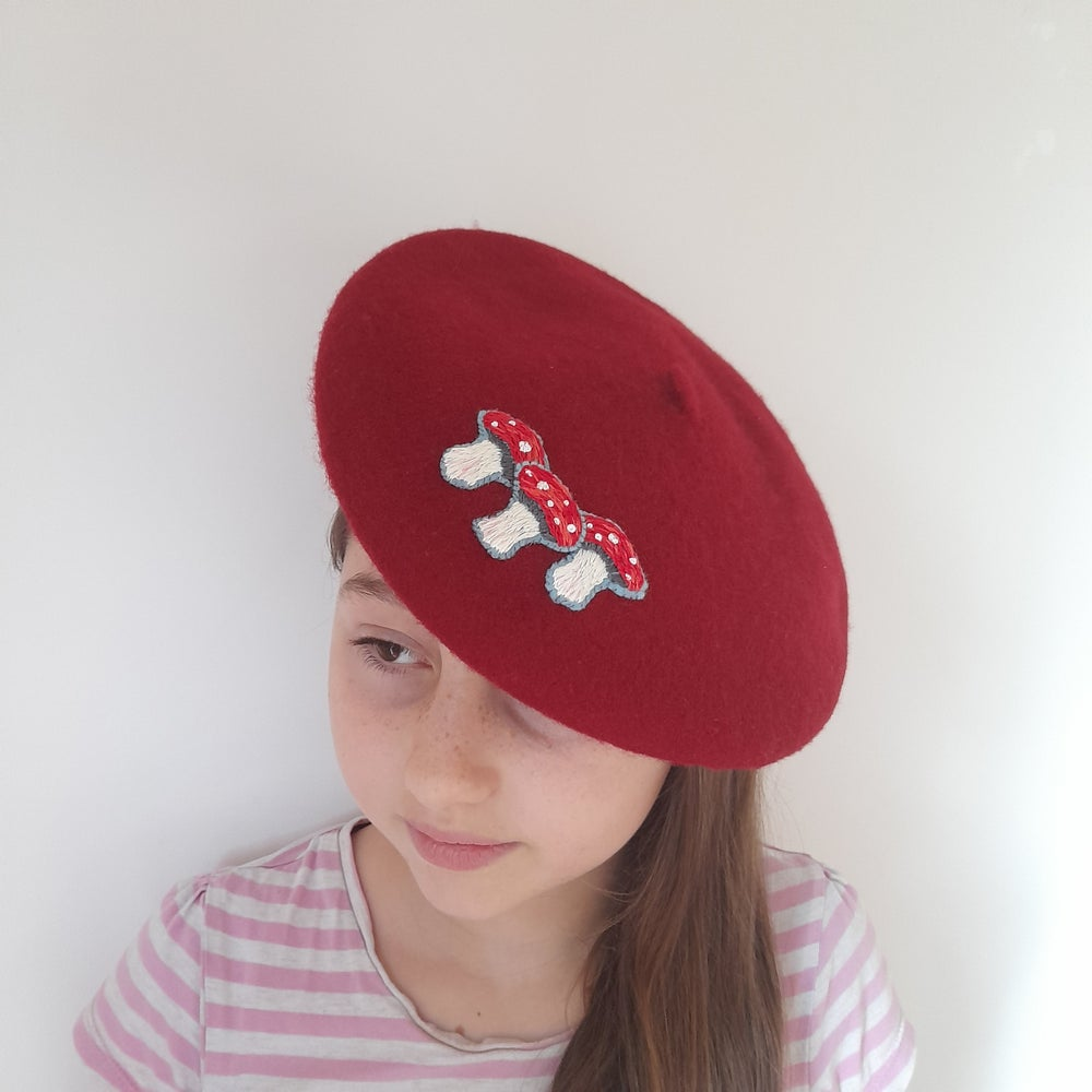 Image of Hand Embroidered Toadstool Child's Beret