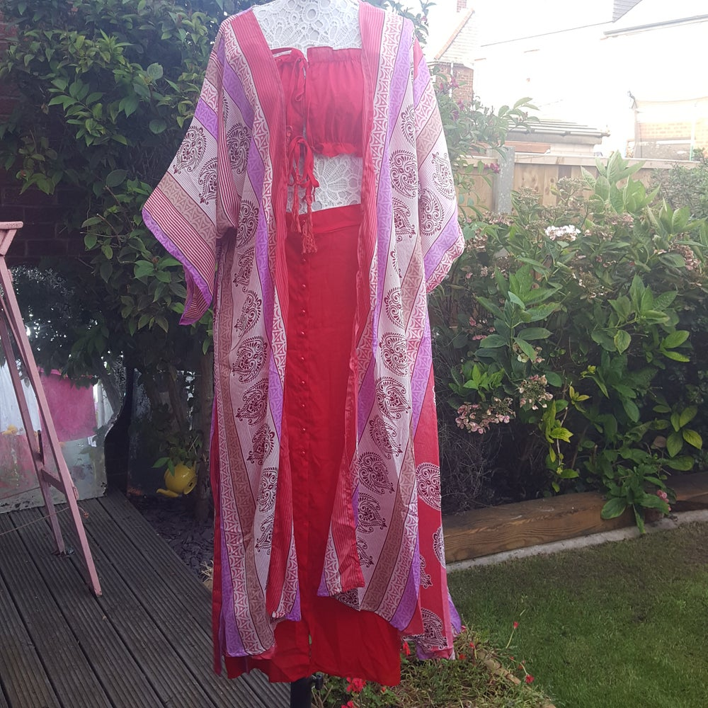 Image of Katie kaftan pinks and reds