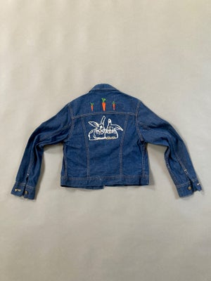 Image of Vintage Jean Jacket with Hand Embroidered Bunnies