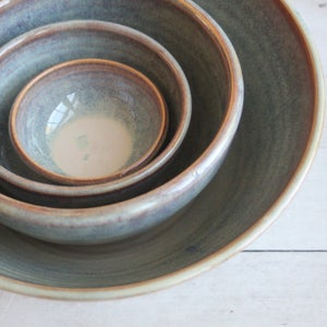 Image of Rustic Ceramic Nesting Bowls in Sage Green and Brown Glazes, Handmade in USA