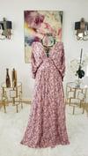 Pink Floral Draped V-neck Dress