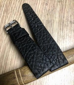 Image of Hand-rolled Black Shrunken Bison rembordé watch strap