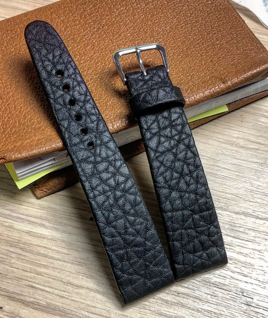 Image of Hand-rolled Black Shrunken Bison rembordé watch strap