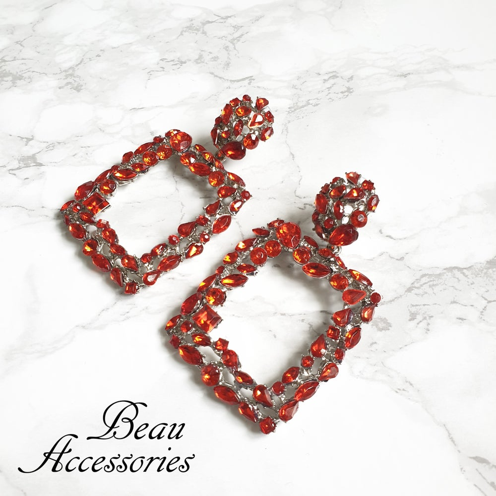 Image of Red Rhinestone Statement Earrings