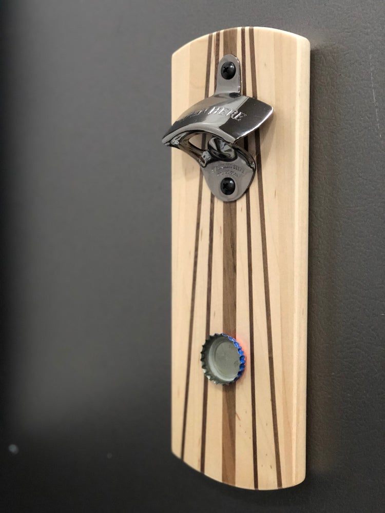 Image of Modern Magnetic Bottle Opener 1 - Walnut Pinstripes