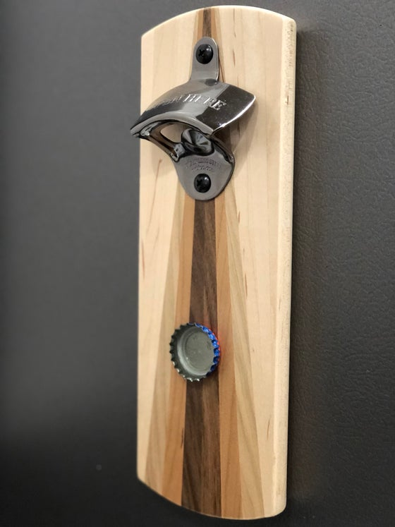 Image of Modern Magnetic Bottle Opener 4 -Wood Rainbow