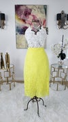 Yellow Embroided Lace Skirt