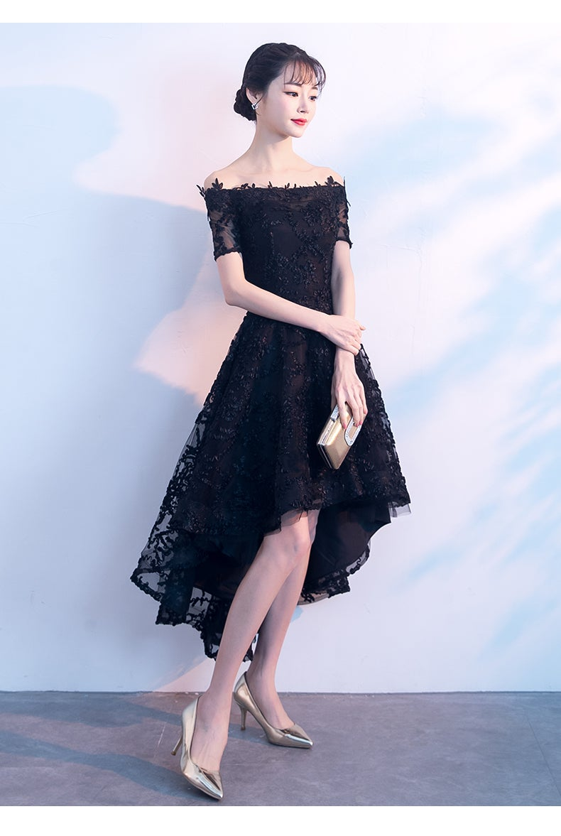 Black Lace High Low Party Dress, Lace Off Shoulder Homecoming Dress