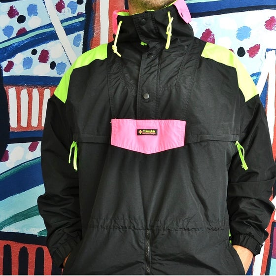 Image of Vintage 1990's Columbia Sportswear Pink & Green Neon Windbreaker Jacket Sz.XL