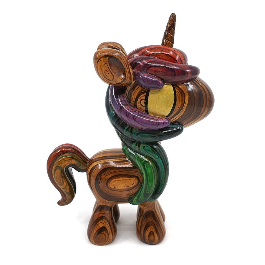 "Image of 6"" Rainbow Polished Wood Effect Unicorn Designer Toy"