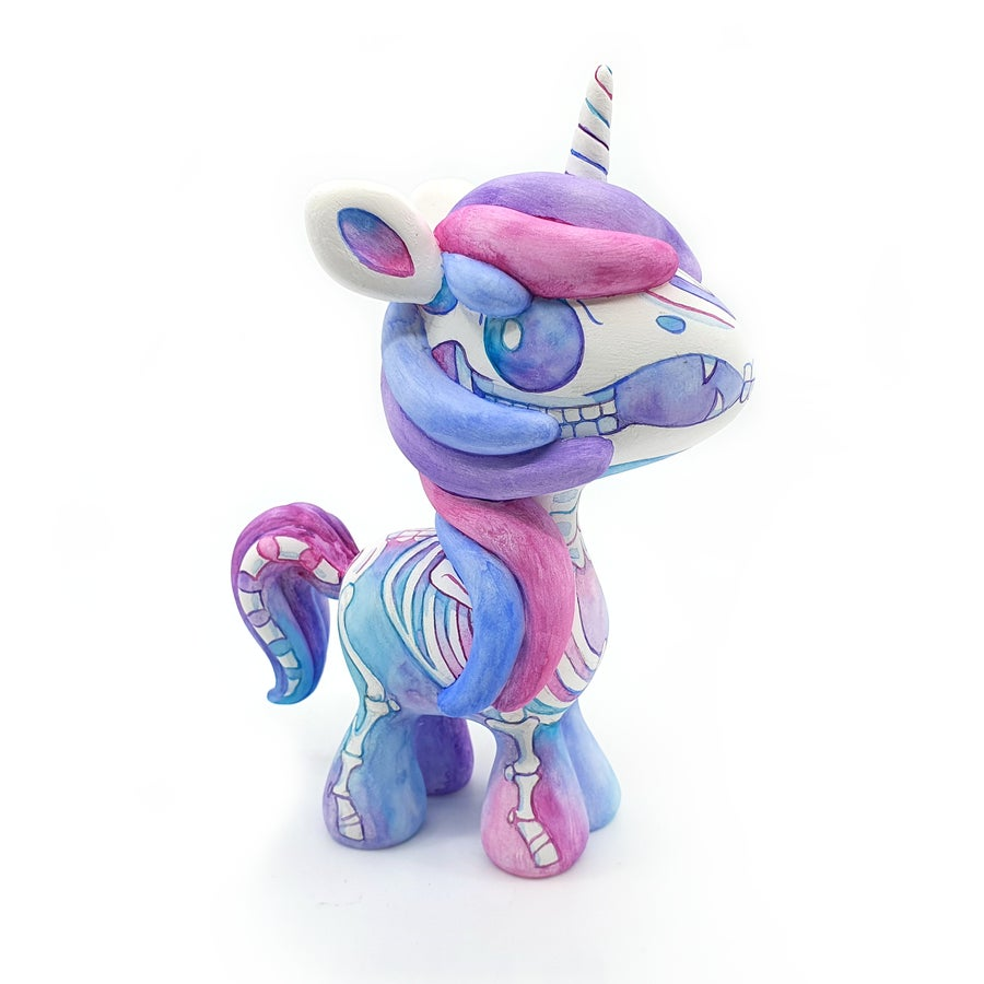 "Image of 6"" Candy Watercolour Skeleton Unicorn Designer Toy"