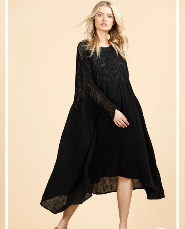 Image of Mesh and linen smock dress