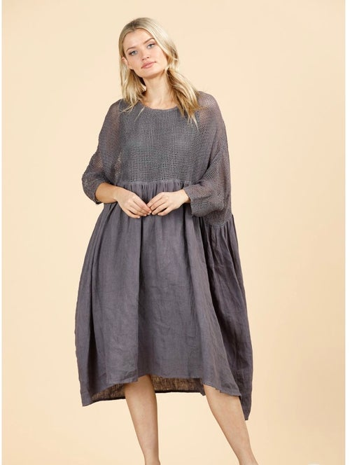 Image of Mesh and linen smock dress