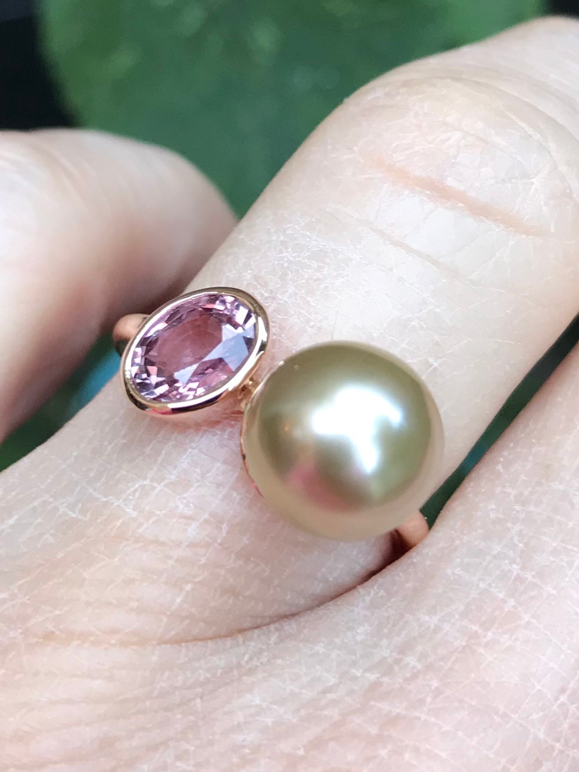 Image of engagementring - birthring in pink gold, sapphire, pearl - verlovingsring in goud, saffier, parel