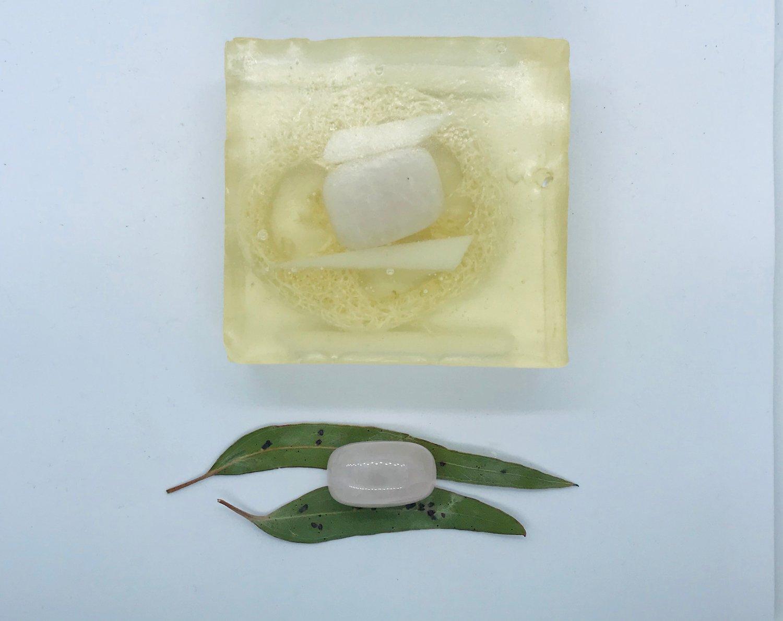 Rose Quartz Soap with Loofah