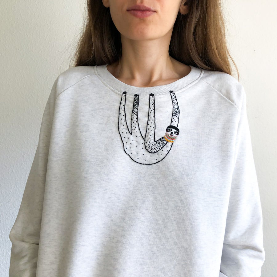Image of Sloth sweatshIrt - hand embroidered original illustration on 100% organic cotton,  in ALL sizes