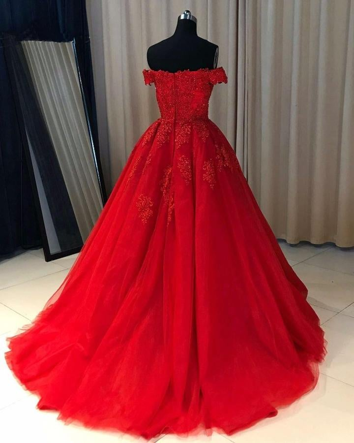 Gorgeous Red Off Shoulder Ball Gown Tulle Party Dress, Red Prom Dress 2021