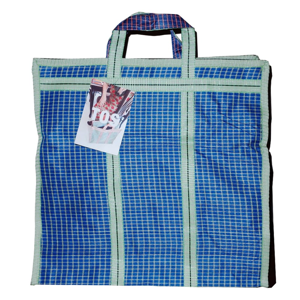 Image of Indian grocery bag L Blue/Green by Tops of Sprouts